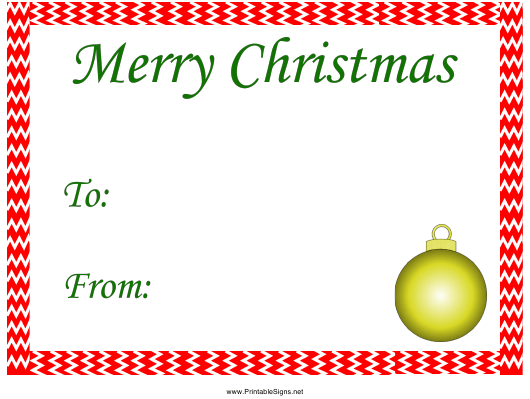 """Merry Christmas Gift Tag Template"" Download Pdf"