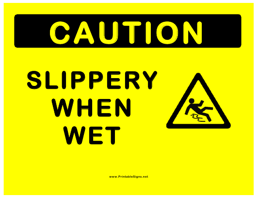 """""""Slippery When Wet Sign Template"""" Download Pdf"""
