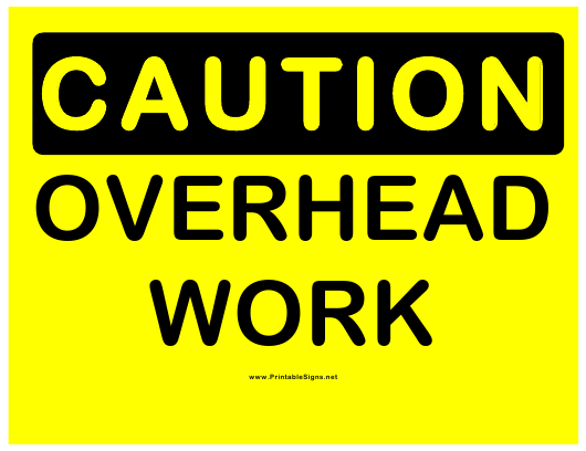 """""""Caution - Overhead Work Sign Template"""" Download Pdf"""