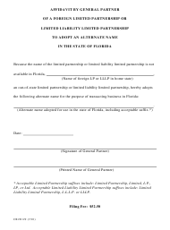 """Form CR2E129 """"Affidavit by General Partner of a Foreign Limited Partnership or Limited Liability Limited Partnership to Adopt an Alternate Name in the State of Florida"""" - Florida"""