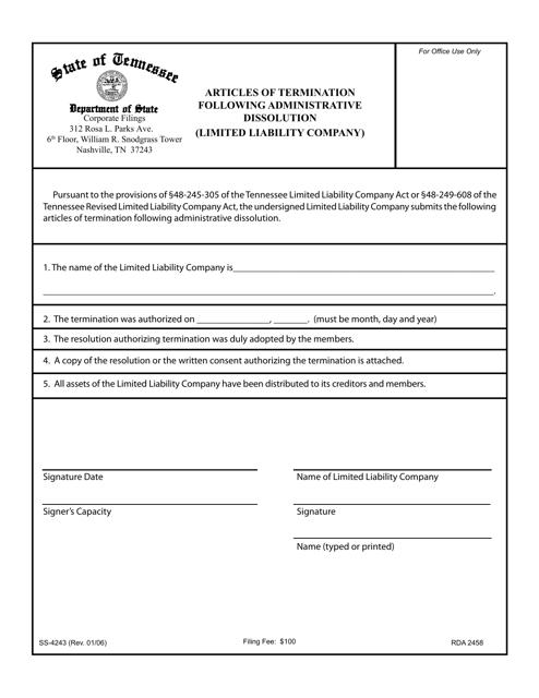 Form SS-4243  Printable Pdf