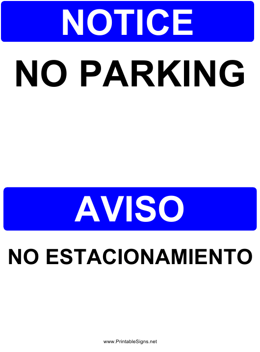 """Notice - No Parking Sign Template"" (English/Spanish) Download Pdf"