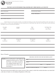 """Form IH-19 (SF48837) """"Notice of Intended Transfer of Checking Account"""" - Indiana"""