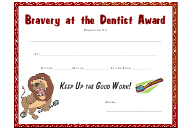 """Bravery at the Dentist Award Certificate Template"""