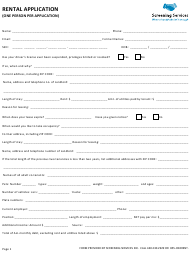 Rental Application Form (One Person Per Application) - Screening Services Inc.
