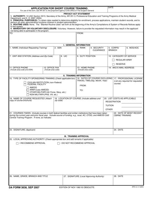 DA Form 3838 Fillable Pdf