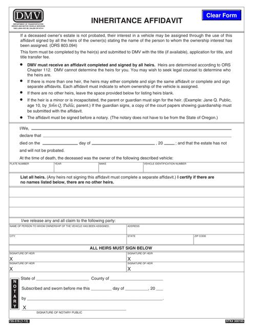 Form 735-516 Download Fillable PDF, Inheritance Affidavit