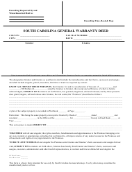 """General Warranty Deed Form"" - South Carolina"