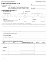 Form LIC-309 Administrative Organization - California
