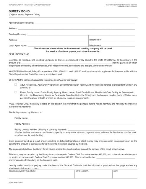 Form LIC-402  Printable Pdf