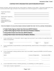 Form 1 Contractor's Organization Questionnaire/Affidavit - Los Angeles County, California