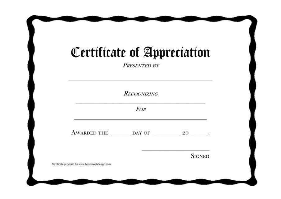 """Certificate of Appreciation Template"" Download Pdf"