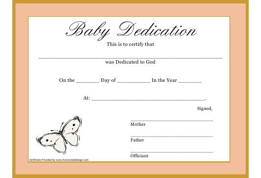 """""""Butterfly Baby Dedication to God Template"""" Download Pdf"""