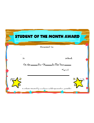 student of the month award certificate template august download