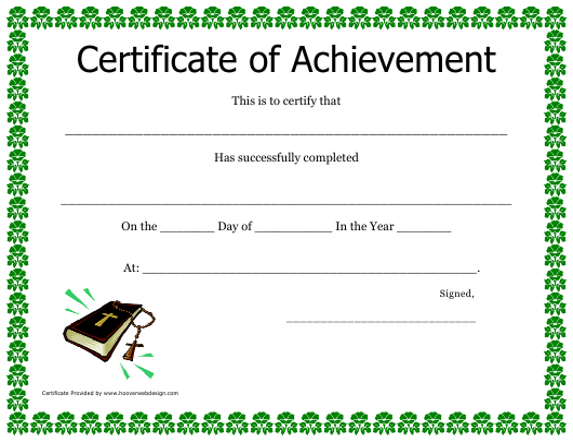 """Certificate of Achievement Template"" Download Pdf"