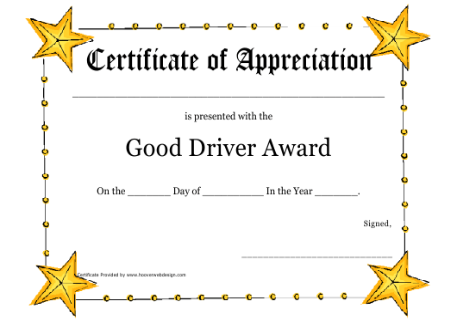"""Good Driver Award Certificate Template"" Download Pdf"