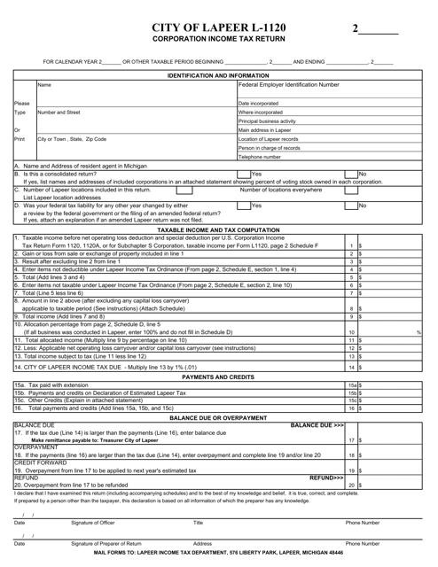 Form L-1120 Printable Pdf