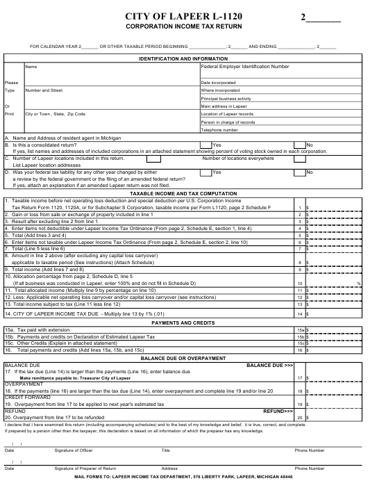 Form L 1120 Download Printable Pdf Corporation Income Tax Return