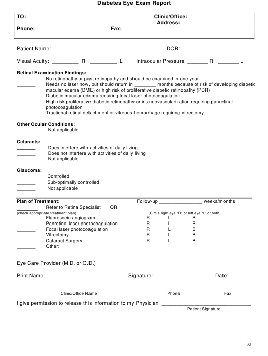 """Diabetes Eye Exam Report Form"" Download Pdf"