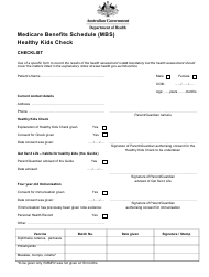 """Medicare Benefits Schedule (Mbs) Healthy Kids Check"" - Australia"