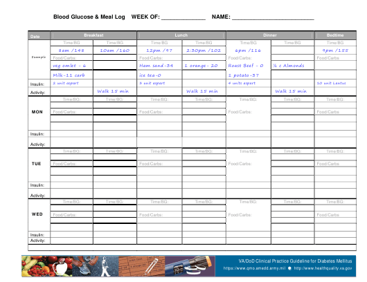 """Weekly Blood Glucose & Meal Log Template"" Download Pdf"