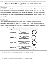 Bikini Bottom: Blood Type Genetics and Codominance Lab Report Template