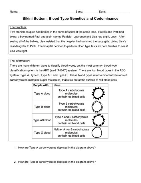 """Bikini Bottom: Blood Type Genetics and Codominance Lab Report Template"" Download Pdf"