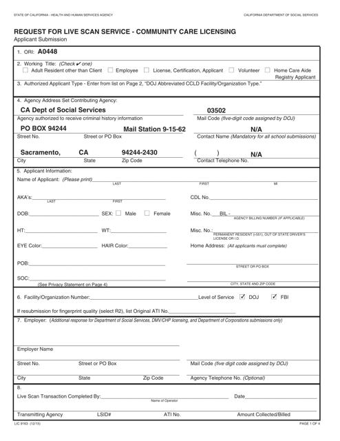Form LIC9163  Printable Pdf