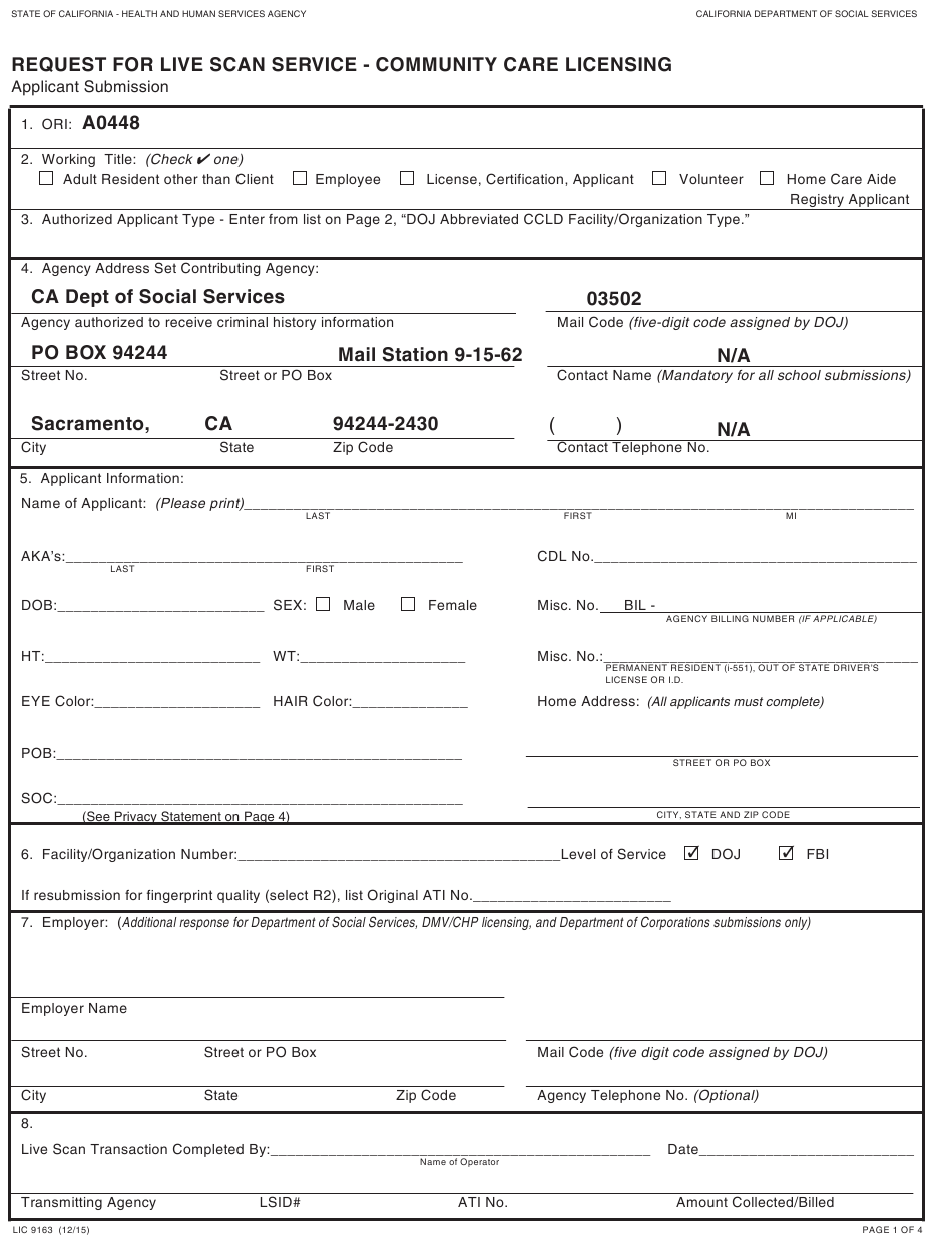 Form Lic9163 Download Fillable Pdf Or Fill Online Request For Live Scan Service Community Care Licensing California Templateroller