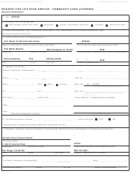 """Form LIC9163 """"Request for Live Scan Service - Community Care Licensing"""" - California"""