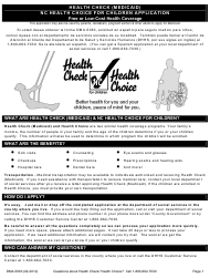 "Form DMA-5063 ""Health Check (Medicaid) Nc Health Choice for Children Application"" - North Carolina"