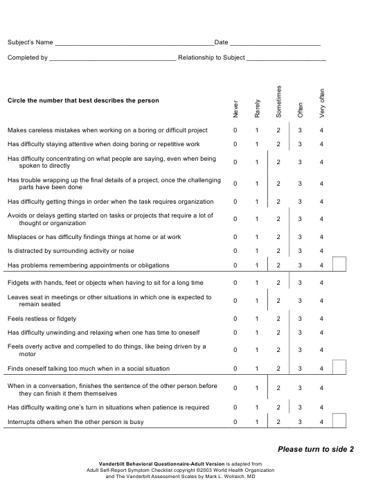 """Adult Self-report Symptom Checklist Template"" Download Pdf"