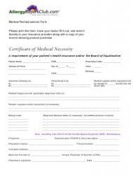Certificate of Medical Necessity Form - Allergy Buyers Club
