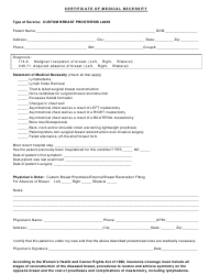 Certificate Of Medical Necessity Form - Custom Breast Prosthesis L8035