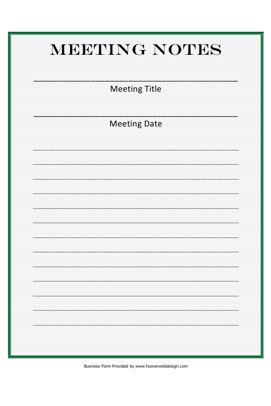 """Meeting Notes Template"" Download Pdf"