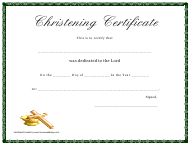 Christening Certificate Template