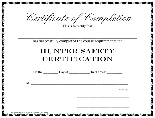 """Hunter Safety Certification Course Completion Certificate Template"" Download Pdf"