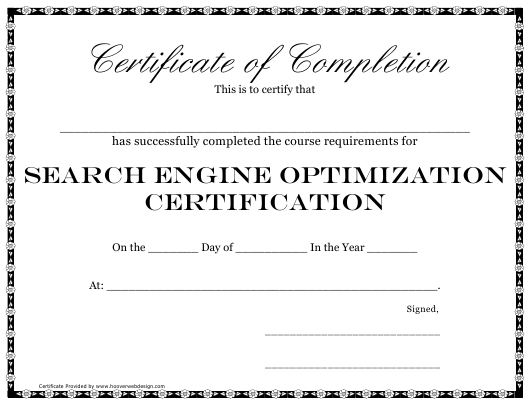 """""""Search Engine Optimization Certification Course Completion Certificate Template"""" Download Pdf"""