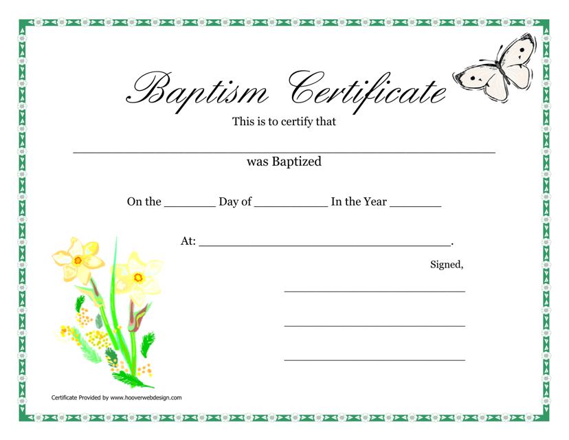 """Baptism Certificate Template"" Download Pdf"