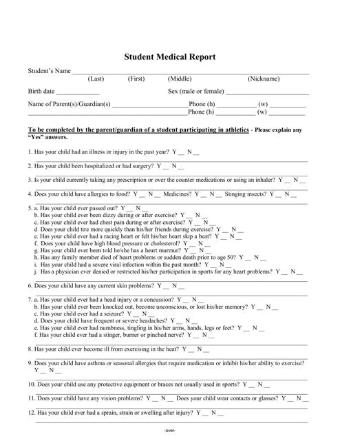 """Student Medical Report Form"" Download Pdf"