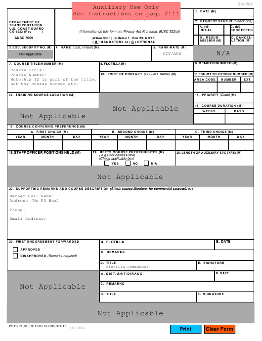 Form CG-5223 (ANSC7059) Printable Pdf