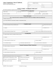 """DLSE Form PW1 """"Public Works - Worker Complaint"""" - California"""