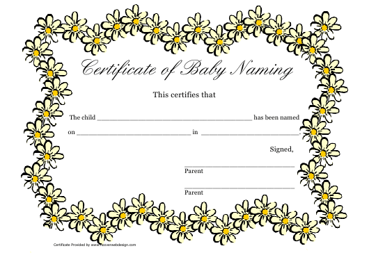 """Certificate of Baby Naming Template"" Download Pdf"