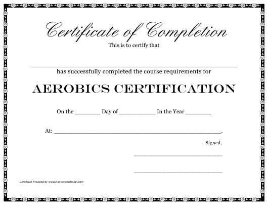 """""""Aerobics Certification Course Completion Certificate Template"""" Download Pdf"""