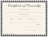 """Certificate of Ownership Template"""