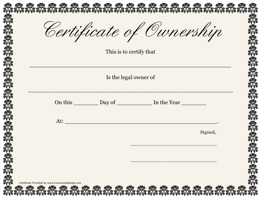 """""""Certificate of Ownership Template"""" Download Pdf"""