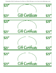 25 Dollars off Gift Certificate Templates