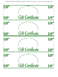 """20 Dollars off Gift Certificate Templates"""