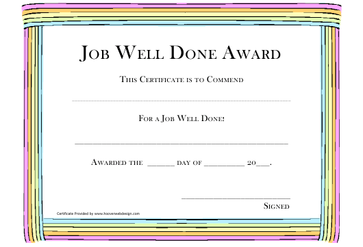 Job Well Done Award Certificate Template Download Printable Pdf Templateroller