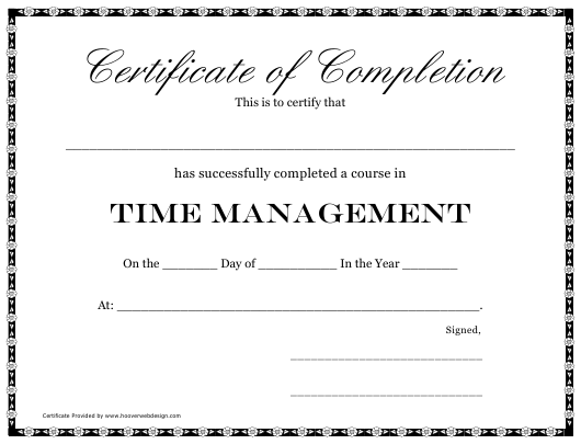"""""""Time Management Course Completion Certificate Template"""" Download Pdf"""